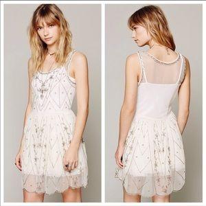 Free People Starry Cream/White Beaded Slip Dress